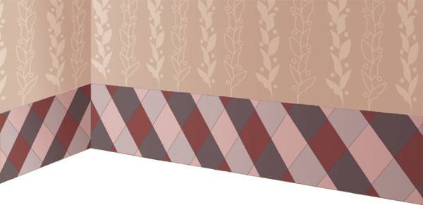 Wallpaper with plaid and leaf motif.png